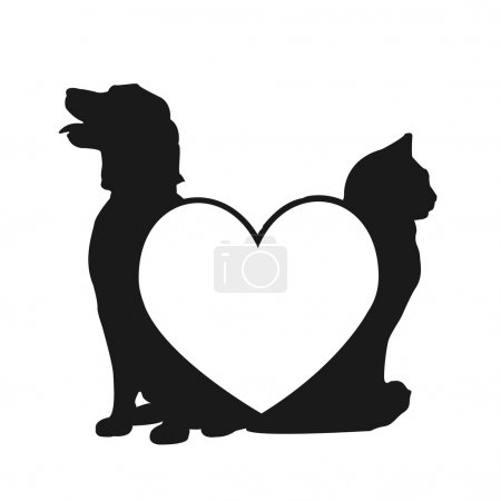 Cat and dog love logo