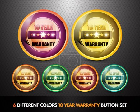Colorful Ten Year Warranty Button Set