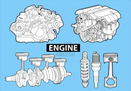 Illustration for Vectro illustration of a engines on blue background - Royalty Free Image
