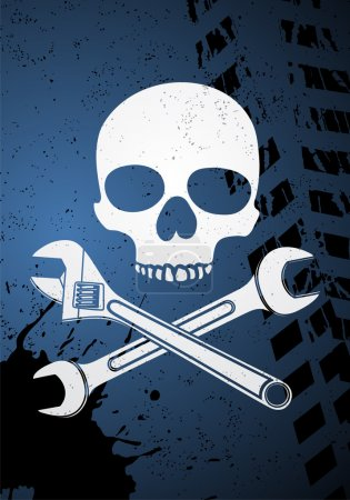 Skull with wrenches