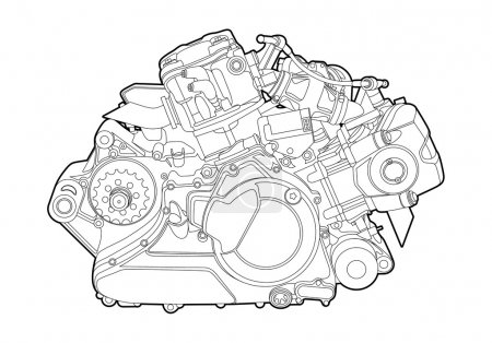 Illustration for Vectro illustration of a motorcycle engine on white background - Royalty Free Image