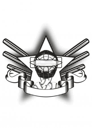 Illustration for Vector illustration baseball mask in star and bat - Royalty Free Image