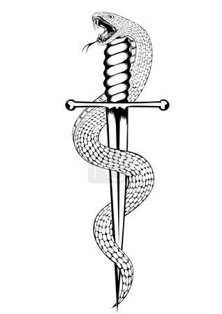 Illustration pour Illustration vectorielle serpent et poignard - image libre de droit