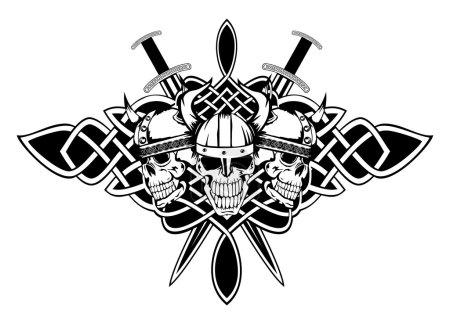 The vector image skull in an ancient helmet of Vik...