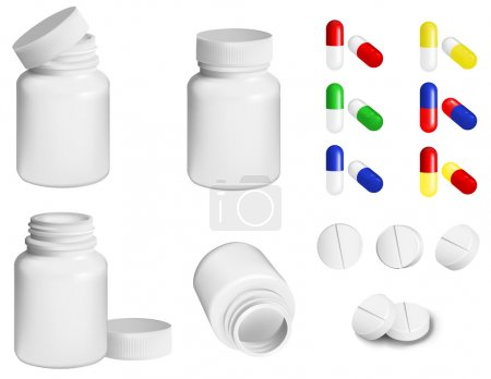 Bottle for medicines and set of various pills and ...
