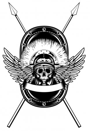 Skull in helmet crossed spears