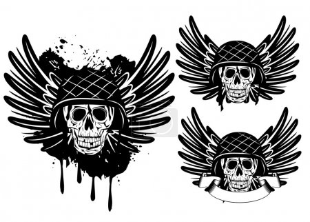 Vector image of skull in an army helmet and wings...