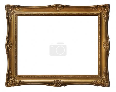 Photo for Vintage golden frame isolated over white background - Royalty Free Image