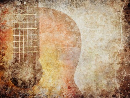 Photo for Grunge background with red guitar - Royalty Free Image