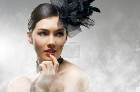 Photo pour Belle fille dans le style vintage - image libre de droit