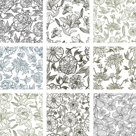 Vector set of nine seamless floral patterns
