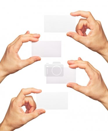 Photo pour Cartes de visite en mains sur fond blanc - image libre de droit
