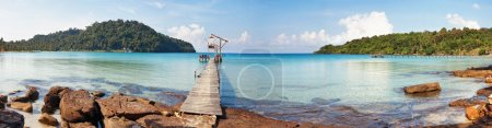 Photo for Stitched panorama of exotic tropical beach under blue sky. Thailand - Royalty Free Image