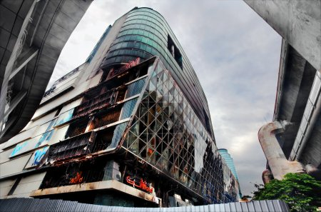 Fire damaged exterior of Central World Plaza shopping mall