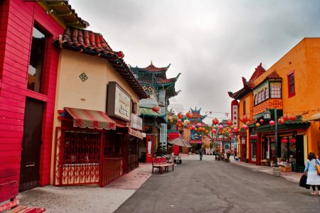 Photo for LOS ANGELES - MAY 19: Early in the morning on a Sunday a few in the colorful Chinatown on May 19, 2007. Officially Chinatown was founded June 25, 1938 in - Royalty Free Image