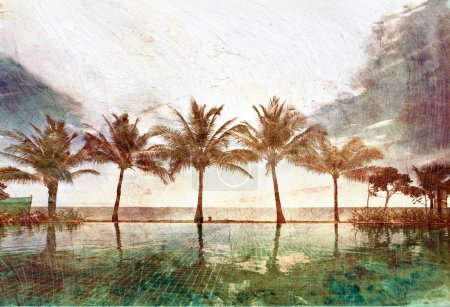 Photo for Reflections of palms in the pool in grunge and retro style - Royalty Free Image