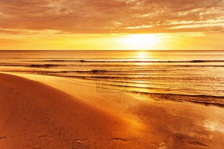 Tropical beach at sunset.