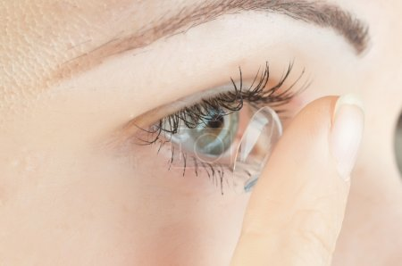 Photo for Beautiful human eye and contact lens - Royalty Free Image