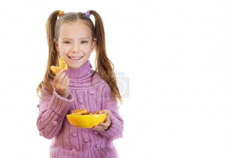 Little girl holding plate of cookies in form of butterflies