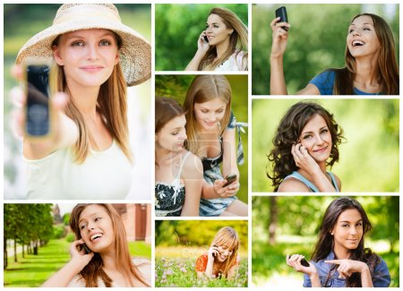 Young women talking on cell phone