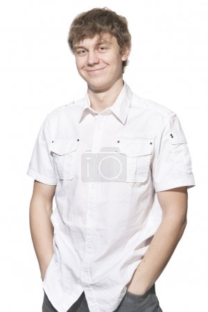 Photo for Handsome smiling man in white shirt over white - Royalty Free Image