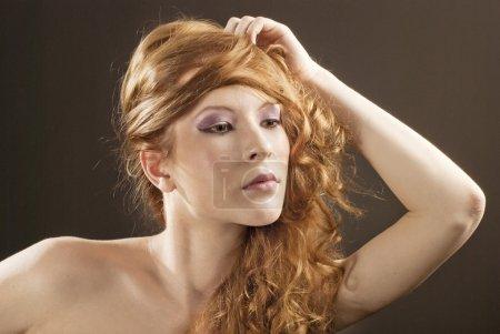 Beautiful red hair woman portrait