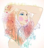 """Постер, картина, фотообои """"рука нарисованные красивая женщина с цветами"""""""