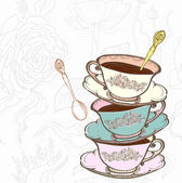 Tea cup background with spoon illustration