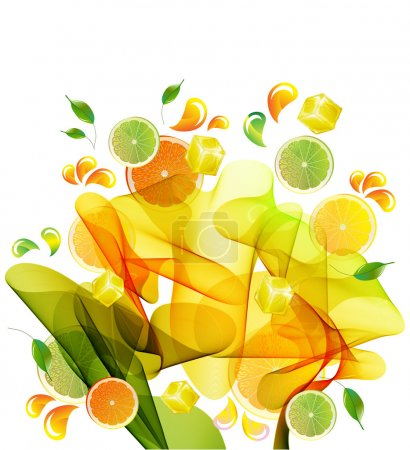 Illustration for Orange and lime juice splash with abstract wave - Royalty Free Image