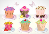 Set of 6 cute cupcakes