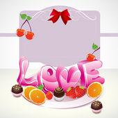Valentine pozadí s sladkostí, ovoce, bobule a lásku a la
