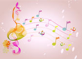 Abstract color music background with birds illustration
