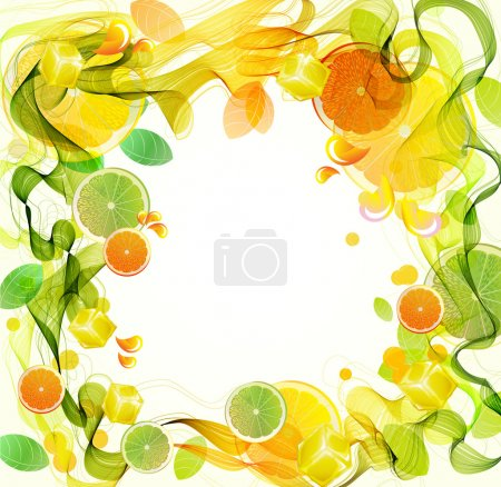 Illustration for Orange and lime juice splash with abstract wave, beautiful illustration - Royalty Free Image