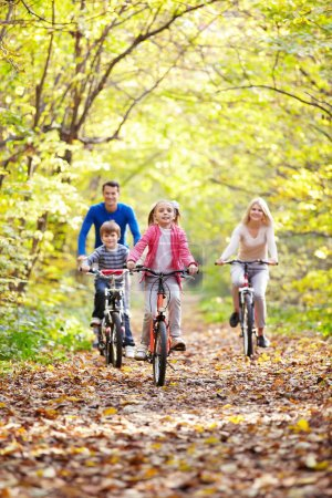 Photo for Family on bikes in the park - Royalty Free Image