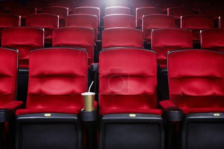 Photo for Empty movie theater with red seats - Royalty Free Image