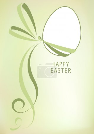 Illustration for Vector drawing of easter egg with green ribbon - Royalty Free Image