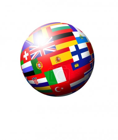 European countries flags ball over white