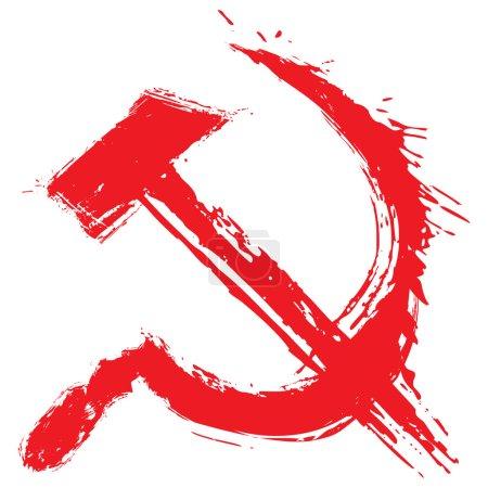 Illustration of communism symbol created in grunge...