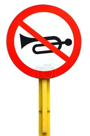 Photo pour Aucun panneau de signalisation de corne isolé sur fond blanc - image libre de droit