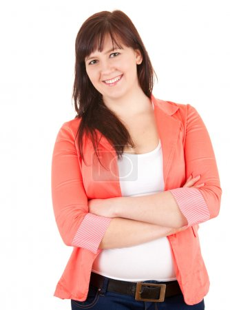 Cheerful fat young woman