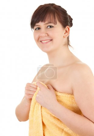 Young fat woman in towel