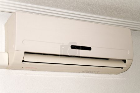 Air conditioning unit in situ on wall in apartment...