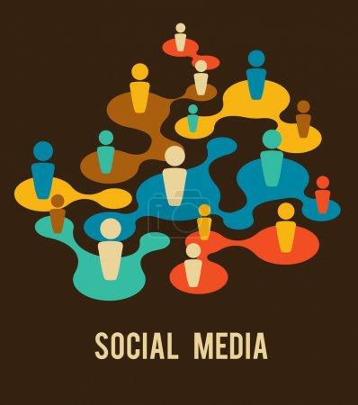 Illustration pour Médias sociaux et illustration réseau, vecteur - image libre de droit