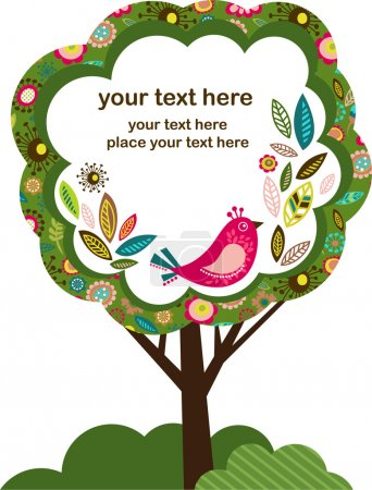 Illustration for Easter greeting card with bird, and tree vector illustration - Royalty Free Image