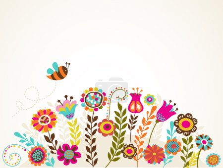 Illustration for Easter greeting card with flowers, vector illustration - Royalty Free Image