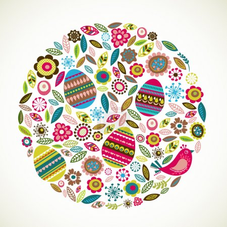 Illustration for Easter greeting card with flowers and eggs, vector illustration - Royalty Free Image