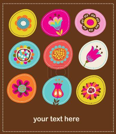 Illustration pour Collection de jolies fleurs décoratives, carte de vœux et fond - image libre de droit