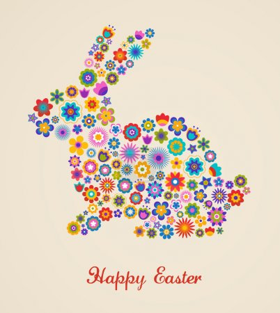 Illustration for Easter greeting card with bunny and flowers, vector illustration - Royalty Free Image