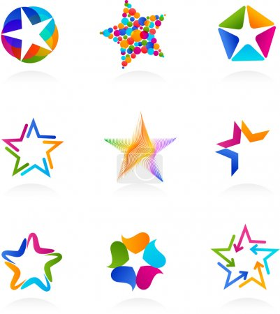 Illustration for Set of abstract, colorful star icons, vector - Royalty Free Image