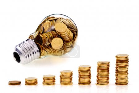 Photo pour Verre traditionel ampoule et économies d'énergie, concept d'entreprise - image libre de droit